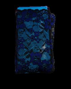 Bruselas nylon 100% 1015 negro con azul x metro